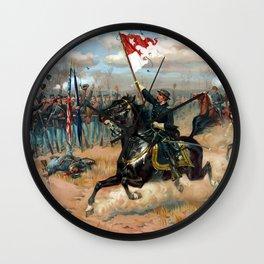 Vintage Lithograph of Sheridan's Ride Civil War Battle Wall Clock