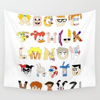 90s Wall Tapestries featuring Child of the 90s Alphabet by Mike Boon