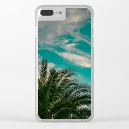 Palms on Turquoise - II Clear iPhone Case