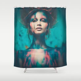 Young woman muse with creative body art and hairdo (4) Shower Curtain