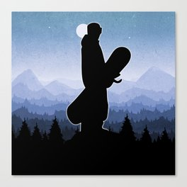 Snowboard Skyline Stand Canvas Print