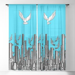 Peace of the Action BLUE / Peace concept Sheer Curtain