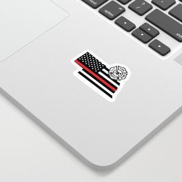 Nebraska Firefighter Shield Thin Red Line Flag Sticker