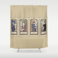 conan Shower Curtains featuring Sherlock Victorian Language of Flowers Four Seasons by KARADIN