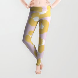 Bright yellow pink LA style leopard animal print cool trend pattern Leggings