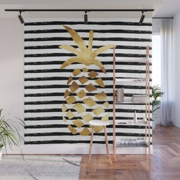 Pineapple & Stripes Wall Mural