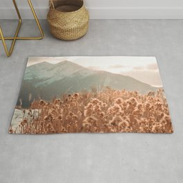 Golden Wheat Mountain // Yellow Heads of Grain Blurry Scenic Peak Rug