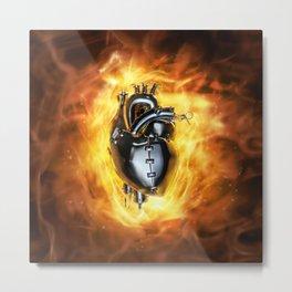 Heavy metal heart Metal Print