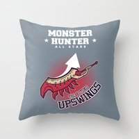 monster hunter Throw Pillows featuring Monster Hunter All Stars - The Kotoko Upswings  by Bleached ink