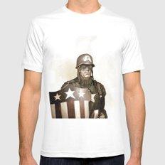 Captain America MEDIUM White Mens Fitted Tee
