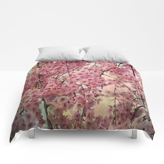 Raining Cherry Blossoms - Painterly Abstract Comforters
