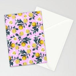 Geometric and Lemon pattern Stationery Cards