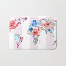 Floral World - Pink Stripe Bath Mat