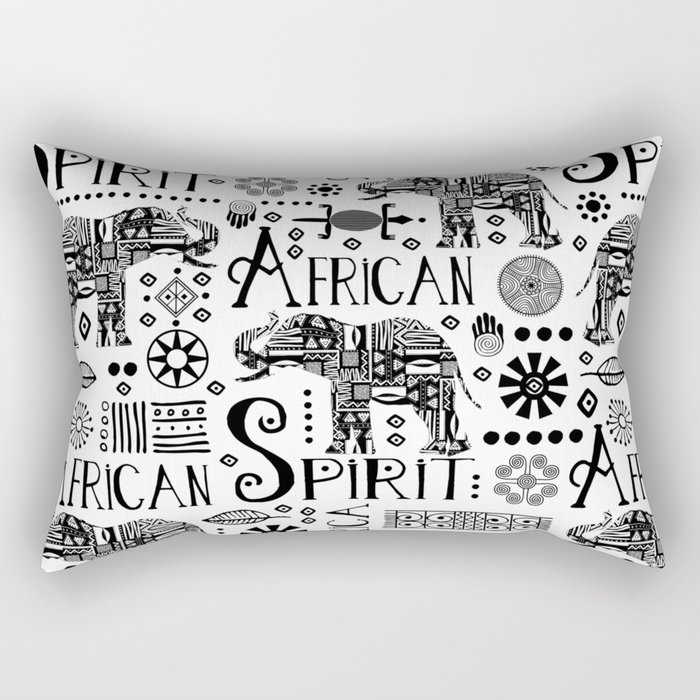 Africa Style Elephant Black And White Tribal Pattern Rectangular Pillow