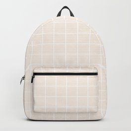 Linen - pink color - White Lines Grid Pattern Backpack