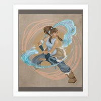 legend of korra Art Prints featuring Korra by Vaahlkult