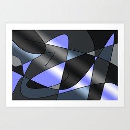 ABSTRACT CURVES #2 (Grays & Light Blue) Art Print