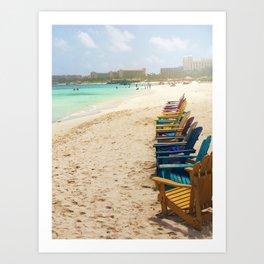 Beach Chairs in Aruba Art Print