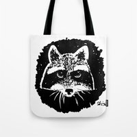 racoon Tote Bags featuring Racoon by leart