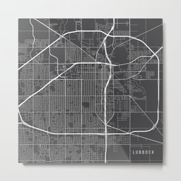 Lubbock Map, USA - Gray Metal Print
