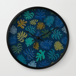 Moody Hawaii Quilted: Deep blues, with quilted water lines Wall Clock