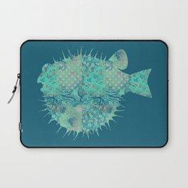 Blowfish, Pufferfish, Ballonfish, Toadies, Tropical Fish, Teal Aqua Mint Blue Laptop Sleeve