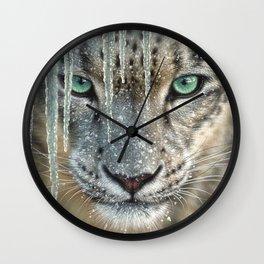 Snow Leopard - Blue Ice Wall Clock