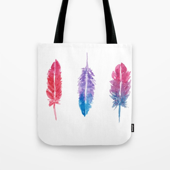 Watercolor Feathers Tote Bag