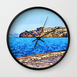 Bracciano: landcsape with lake and Anguillara village Wall Clock