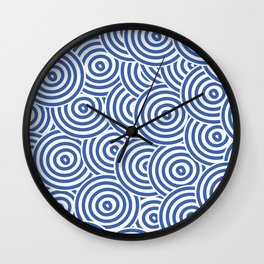 Blue and White Hypnotic Circle Pattern Wall Clock