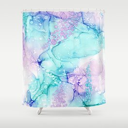 Mermaid Wishes: Original Abstract Alcohol Ink Painting Shower Curtain