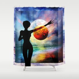 1-10 HALF FULL Shower Curtain