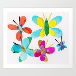 Rainbow Butterfly Collage Art Print