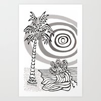 Palms and Waves Art Print