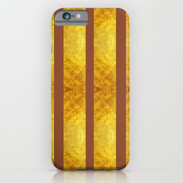 Golden Texured Vertical Stropes with Ginger Bread Brown color iPhone Case