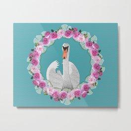 Swan and Roses Metal Print