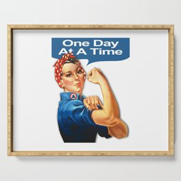 One Day At A Time AA NA Sober Sunrise Tee Tees T-Shirt Rosie The Riveter Serving Tray