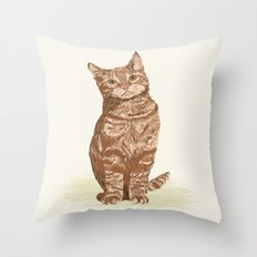 Orange Tabby Cat cute sitting cat lady gift customized pet portrait pet friendly gifts for cat owner Throw Pillow