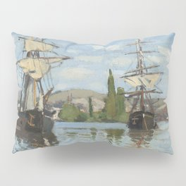 Claude Monet Ships Riding on the Seine at Rouen 18721873 Painting Pillow Sham