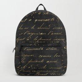 Vintage Black & Gold Script  Backpack