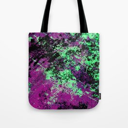 Colour Interaction II - Abstract purple, green and black textured, mixed media art Tote Bag