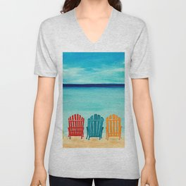 A Day At The Beach Unisex V-Neck