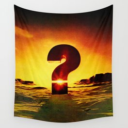 Vintage 1970's Question Mark With Sunset Wall Tapestry