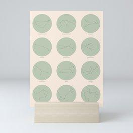 Zodiac Constellations - Sage Green Mini Art Print