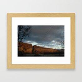 Powerlines through Mountain Framed Art Print
