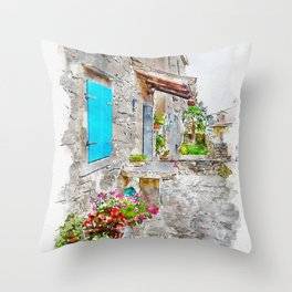 Aquarelle sketch art. Town cobbled street view, region of Istria, Croatia Throw Pillow
