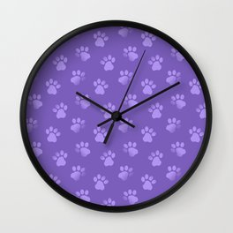 Cat Dog Paw Print Pattern in Purple Wall Clock
