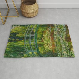 Claude Monet Impressionist Landscape Oil Painting-The Japanese Footbridge and the Water Lily Pool Rug