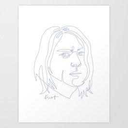 Kurt Oneline Blue Art Print