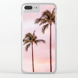 Palm Tree Photography | Landscape | Sunset Unicorn Clouds | Blush Millennial Pink Clear iPhone Case